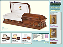 Screenshot of Batesville Casket Selection Prototype